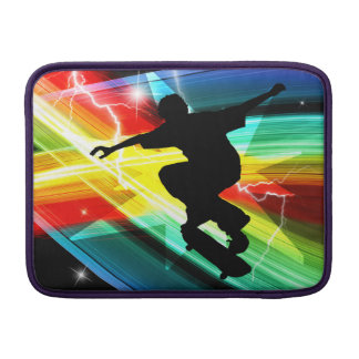 Skateboarder in Criss Cross Lightning MacBook Sleeves
