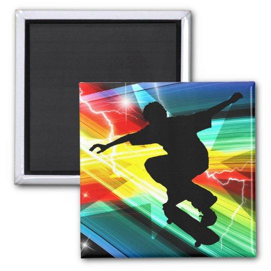 Skateboarder in Criss Cross Lightning Magnet
