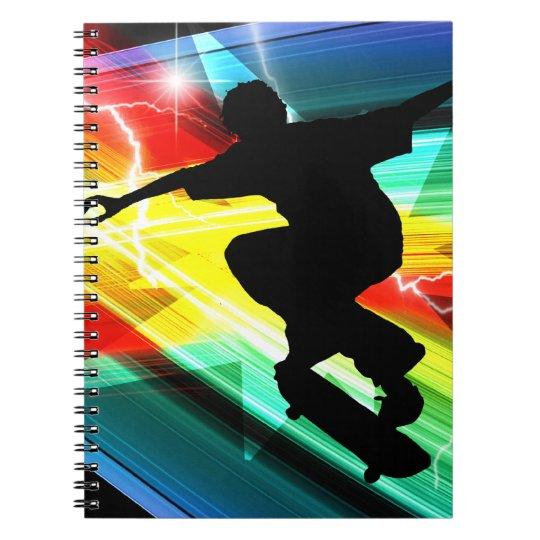 Skateboarder in Criss Cross Lightning Notebook