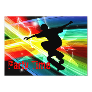 Skateboarder in Criss Cross Lightning Party Card