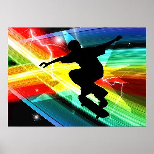 Skateboarder in Criss Cross Lightning Poster