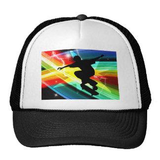 Skateboarder in Criss Cross Lightning Trucker Hat