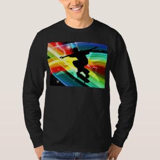 Skateboarder in Criss Cross Lightning Tshirts