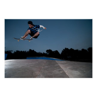 Skateboarder on a ollie poster
