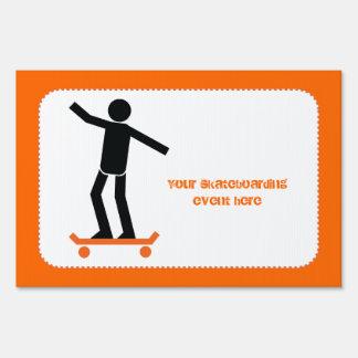 Skateboarder on his skateboard custom yard signs