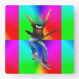 Skateboarder Psychaedelic Action Sports Art Square Wall Clocks