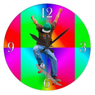 Skateboarder Psychaedelic Action Sports Art Clocks