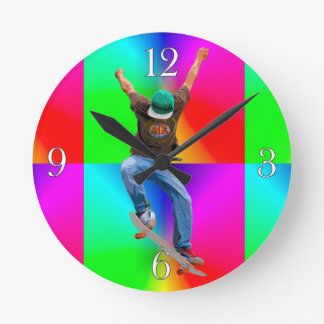Skateboarder Psychaedelic Action Sports Art Wall Clocks