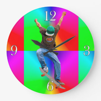 Skateboarder Psychaedelic Action Sports Art Large Clock