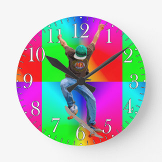 Skateboarder Psychaedelic Action Sports Art Round Clock