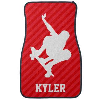 Skateboarder; Scarlet Red Stripes Car Mat