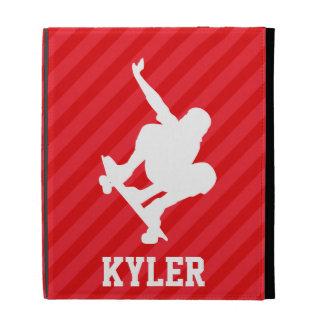 Skateboarder; Scarlet Red Stripes iPad Folio Case