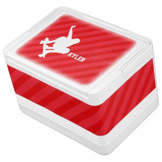 Skateboarder; Scarlet Red Stripes Drink Cooler