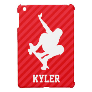 Skateboarder; Scarlet Red Stripes Case For The iPad Mini