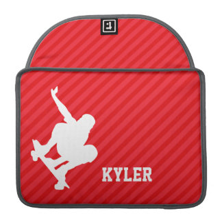Skateboarder; Scarlet Red Stripes Sleeves For MacBooks