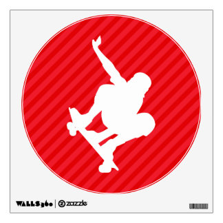 Skateboarder; Scarlet Red Stripes Wall Graphic