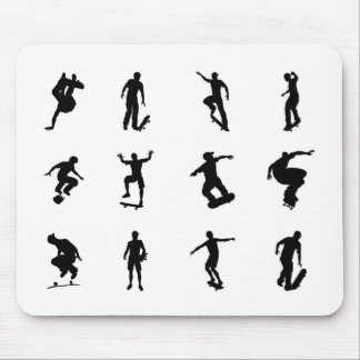 Skateboarder silhouette outlines mouse pad