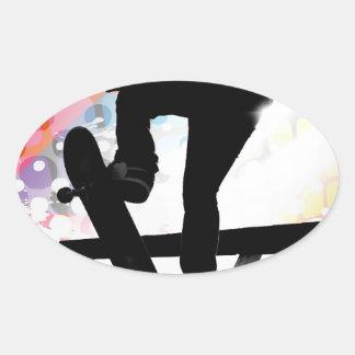 Skateboarder Silhouette Oval Sticker