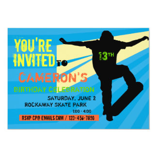 Skateboarder Teen Birthday Invitation