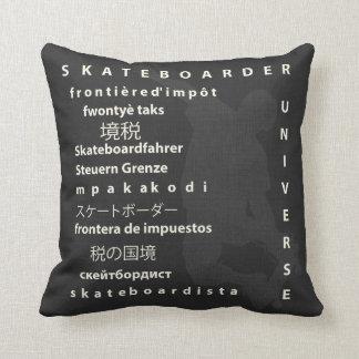 Skateboarder Universe Reversible Word Throw Pillow