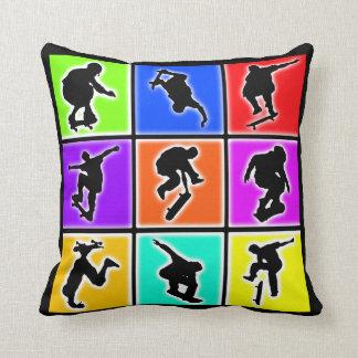 Skateboarders Pop Art Pillow