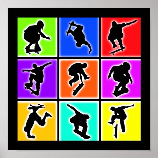 Skateboarders Pop Art Poster