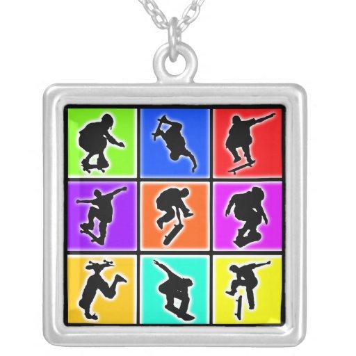 Skateboarders Pop Art Square Pendant Necklace