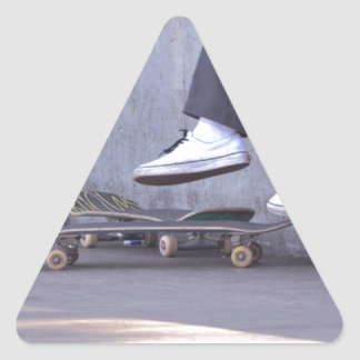 Skateboarders Take a Rest Triangle Sticker