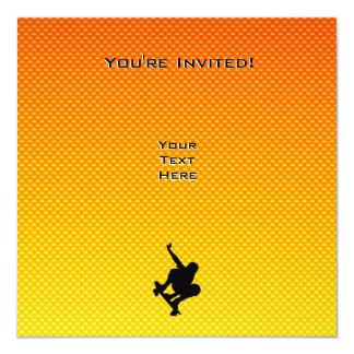 Skateboarding amarillo-naranja invitación 13,3 cm x 13,3cm
