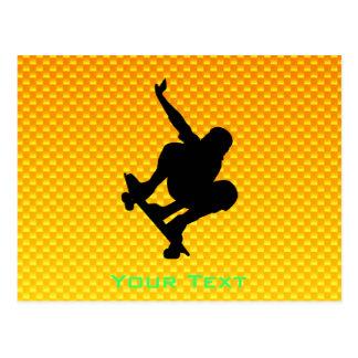 Skateboarding amarillo-naranja postal