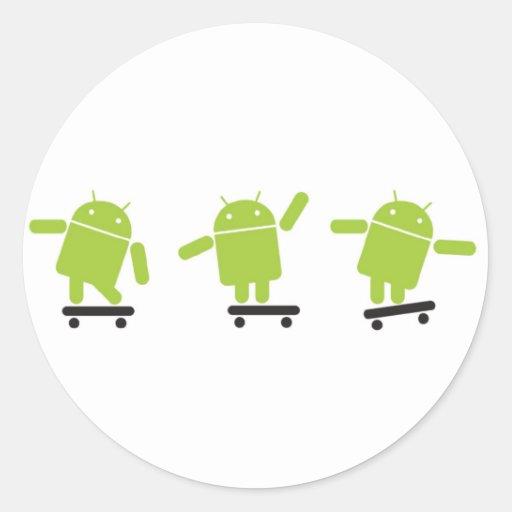 Skateboarding Android Round Sticker