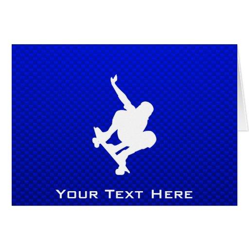 Skateboarding azul tarjeta de felicitación