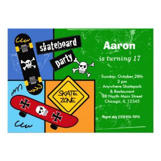 Skateboarding Birthday Green Announcements