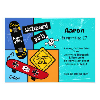 Skateboarding Birthday Custom Invitation