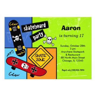 Skateboarding Birthday Lime Invitations