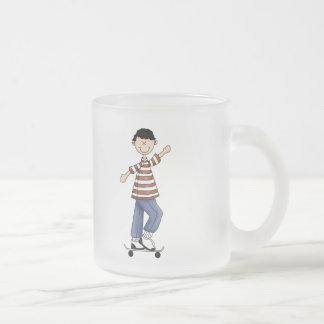 Skateboarding Boy Frosted Glass Coffee Mug