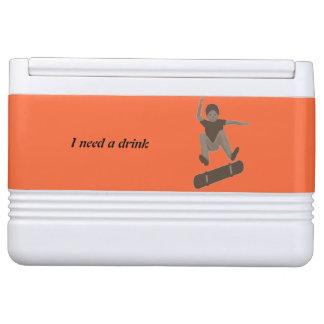 Skateboarding Boy Heel Flipping Drink Cooler