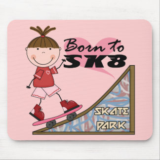 SKATEBOARDING - Brunette Girl Tshirts and Gifts Mouse Pad