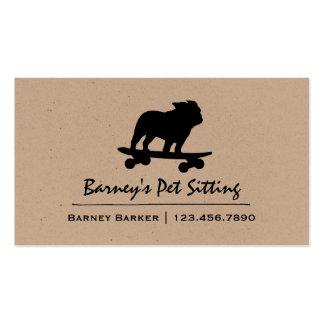 Skateboarding Bulldog Silhouette Business Card
