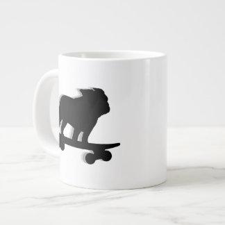Skateboarding Bulldog Silhouette Giant Coffee Mug