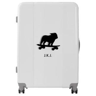 Skateboarding Bulldog Silhouette Personalized Luggage