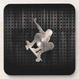 Skateboarding; Cool Black Drink Coaster