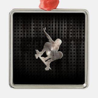 Skateboarding; Cool Black Metal Ornament