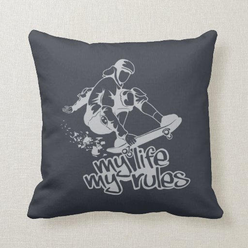 Custom Down Throw Pillows : Skateboarding custom throw pillow Zazzle