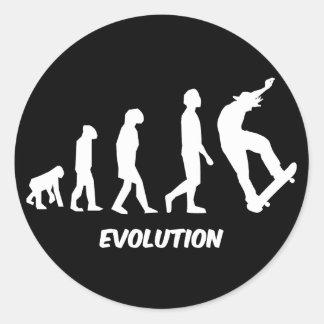 Skateboarding de la evolución pegatina redonda