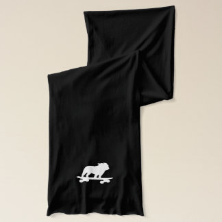 Skateboarding English Bulldog Silhouette Scarf