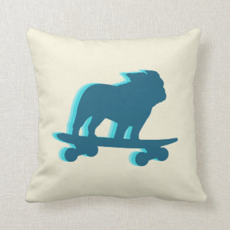 Skateboarding English Bulldog Silhouette Throw Pillow