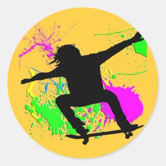 Skateboarding Extreme Round Stickers