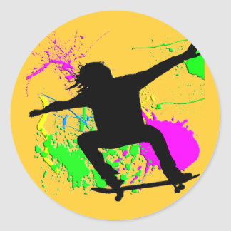 Skateboarding Extreme Round Stickers