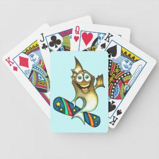 Skateboarding Fish Playing Cards